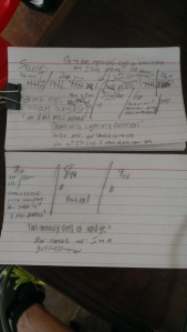 It took me two note cards to write down all the crazy stuff she did and said!